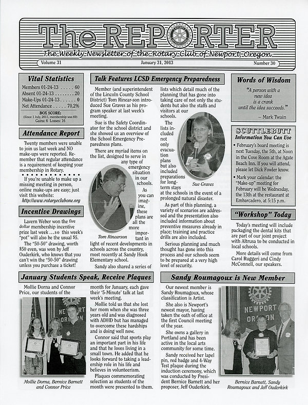 January 31, 2013 Rotary of Newport, Oregon Newsletter