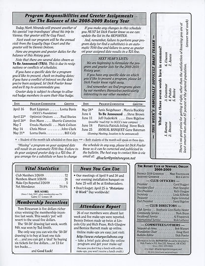 Rotary of Newport, Oregon April 2, 2009 newsletter