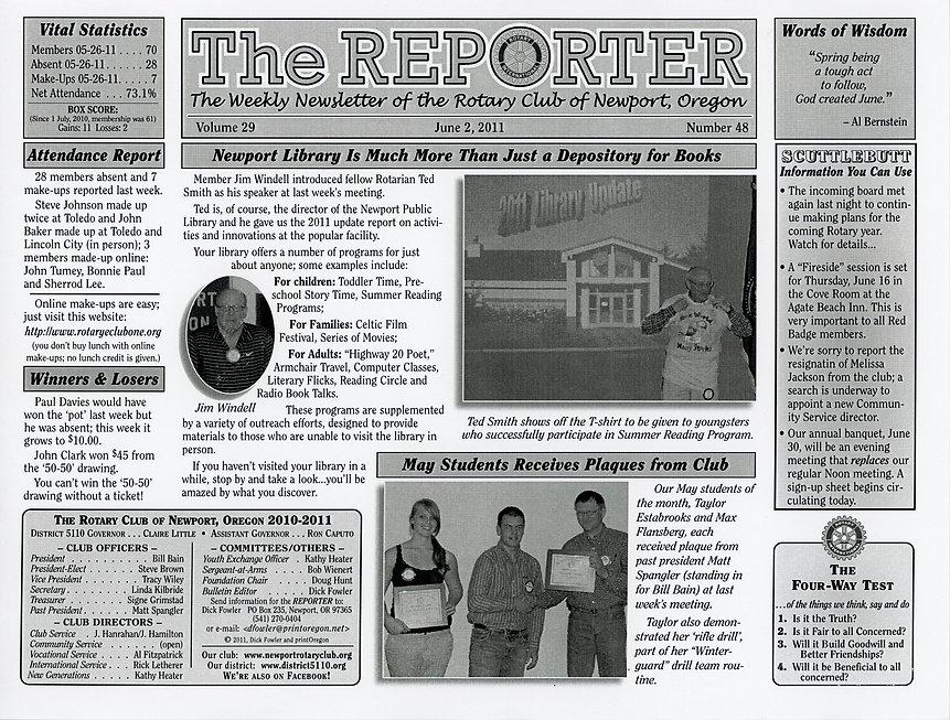 Rotary of Newport, Oregon June 2, 2011 newsletter