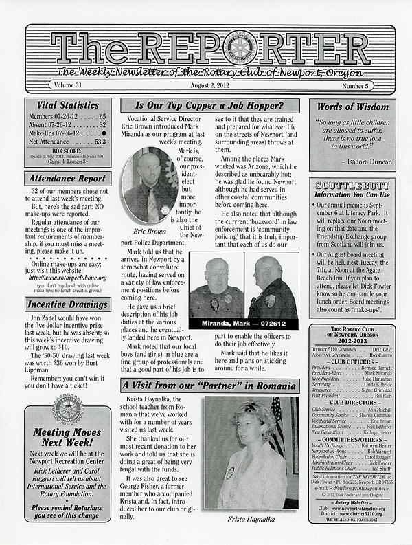 August 2, 2012 Rotary of Newport, Oregon Newsletter.