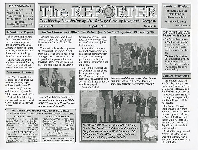 Rotary of Newport, Oregon August 5, 2010 newsletter