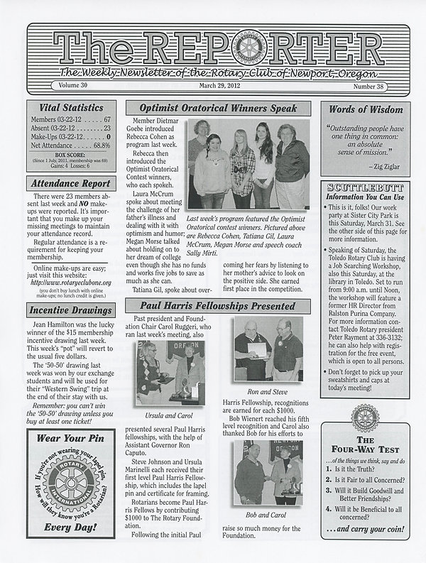 March 29, 2012 Rotary of Newport, Oregon Newsletter