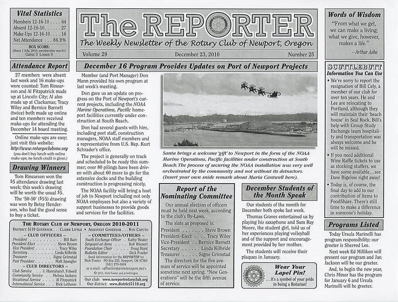 Rotary of Newport, Oregon December 23, 2010 newsletter