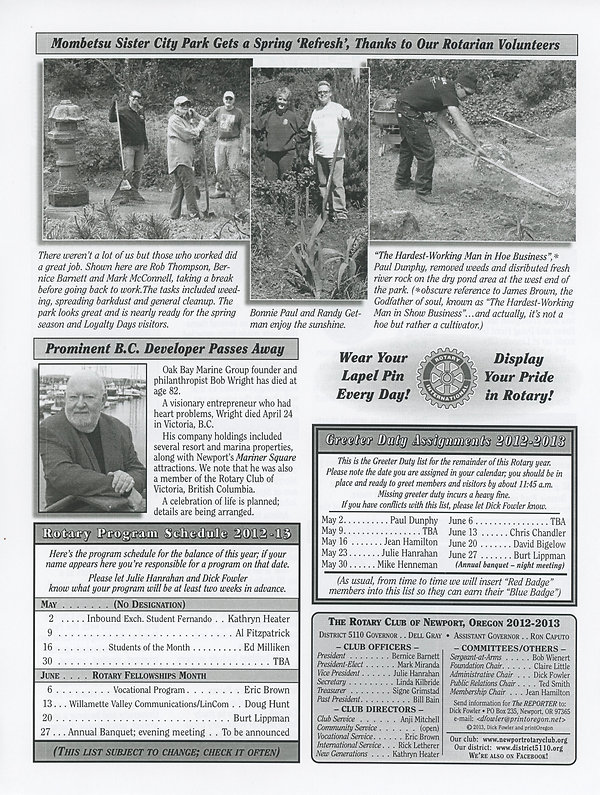 May 2, 2013 Rotary of Newport Newsletter