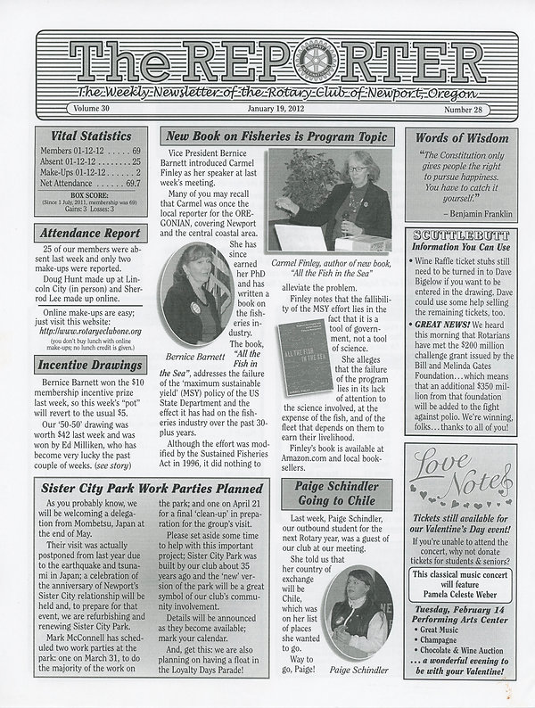 January 19, 2012 Rotary of Newport, Oregon Newsletter