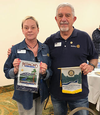 Visiting Rotarians: Louise Kaplan and Marvin Kaplan from the Rotary Club of Redmond, OR.