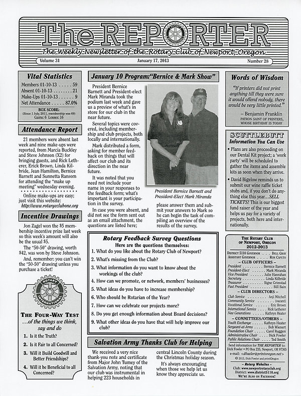 January 17, 2013 Rotary of Newport, Oregon Newsletter