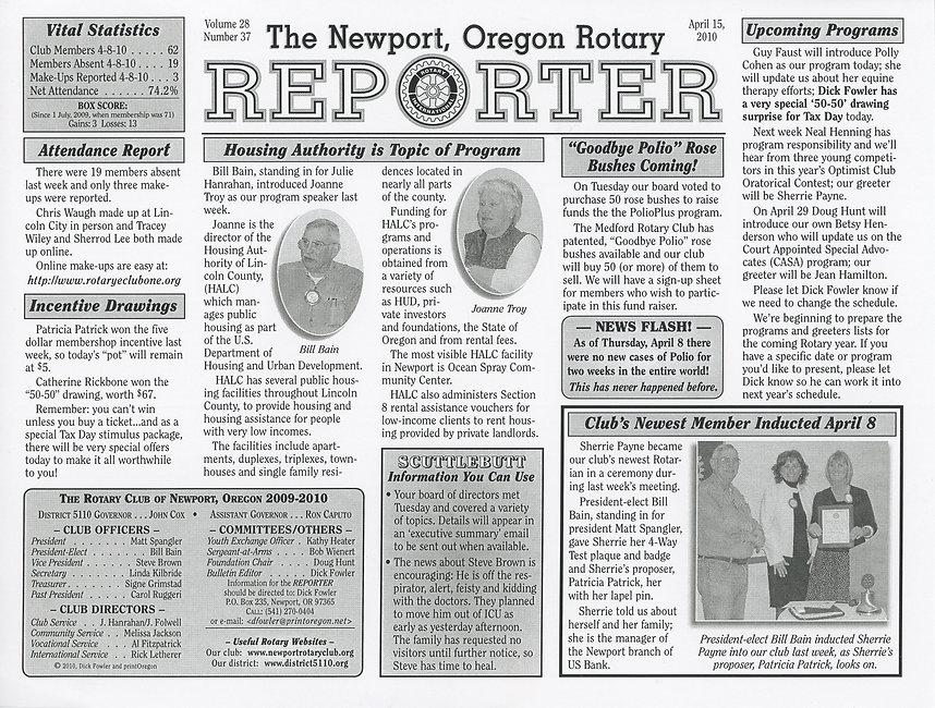 Rotary of Newport, Oregon April 15, 2010 newsletter