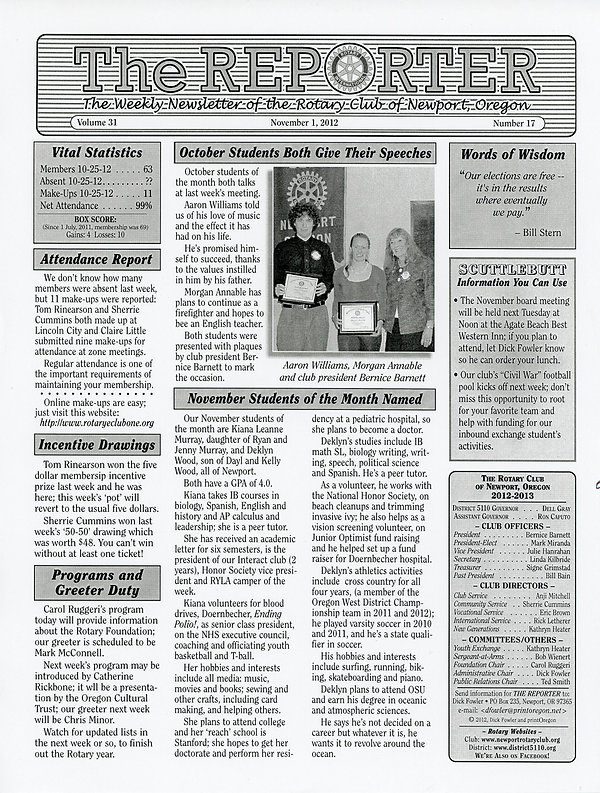 November 1, 2012 Rotary of Newport, Oregon Newsletter.