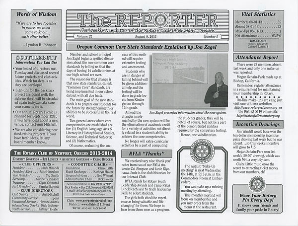 August 8, 2013 Rotary of Newport, Oregon Newsletter