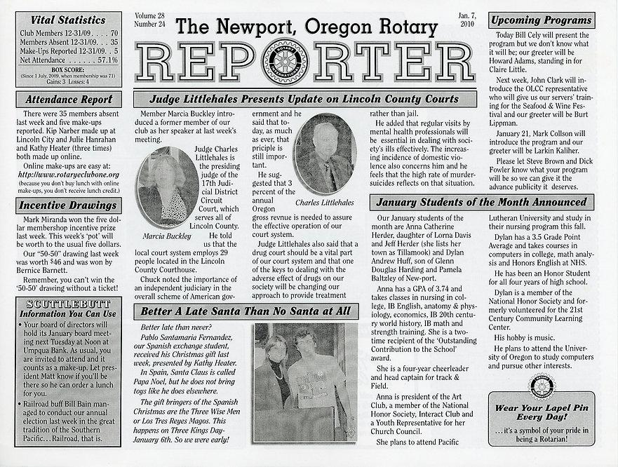 Rotary of Newport, Oregon January 7, 2010 newsletter.