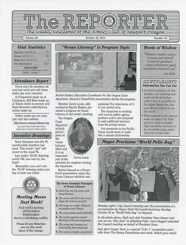 Rotary of Newport, Oregon October 20, 2011 newsletter