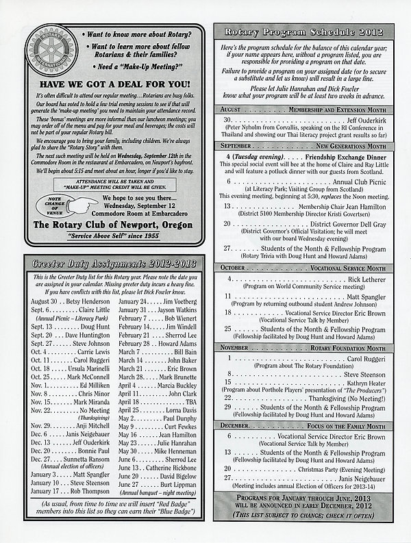 August 30, 2012 Rotary of Newport, Oregon Newsletter.