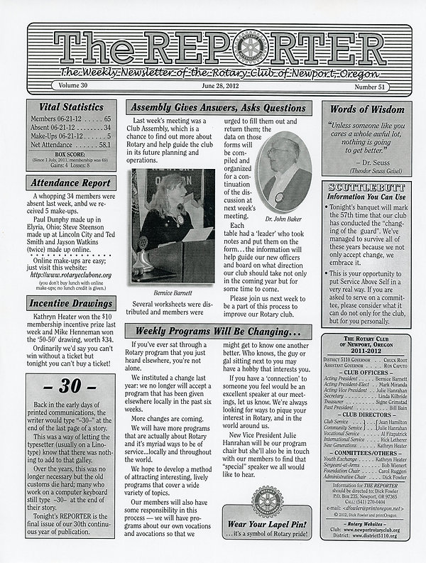 June 28, 2012 Rotary of Newport, Oregon Newsletter.