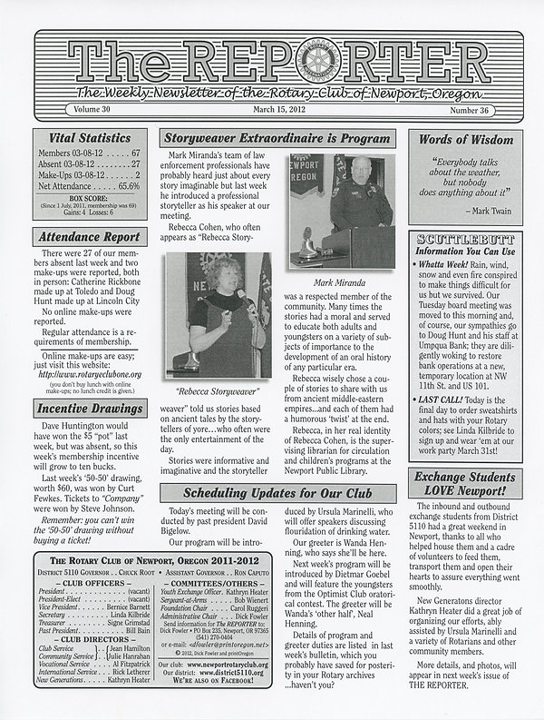 March 15, 2012 Rotary of Newport, Oregon Newsletter