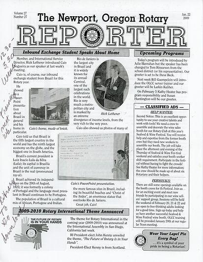 Rotary of Newport, Oregon 1.22.09 newsletter