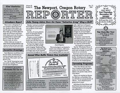Rotary of Newport, Oregon December 17, 2009 newsletter
