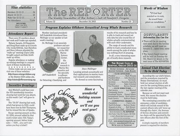 December 19, 2013 Rotary of Newport, Oregon Newsletter