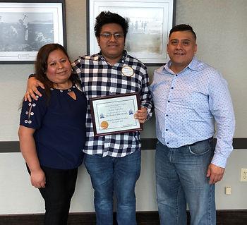 Rotary of Newport, OR Student of the Month Josue Sanchez and his parents Enrique Sanchez Rodriguez and Obdulia Valencia Rosete