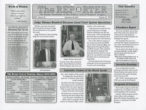 September 26, 2013 Rotary of Newport, Oregon Newsletter