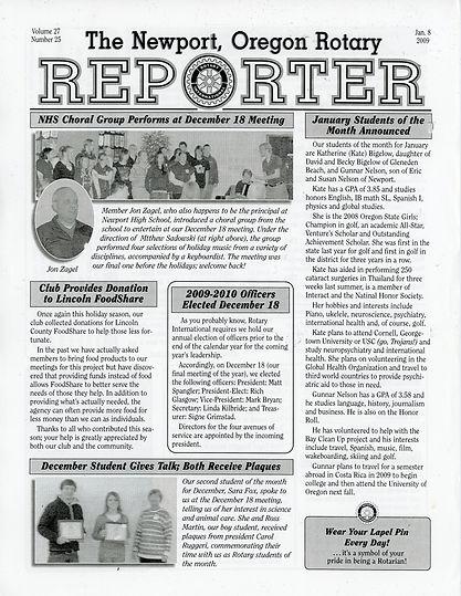 Rotary of Newport, Oregon 1.8.09 newsletter
