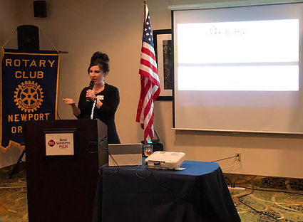 Cherilyn Bertges- Oregon Beverage Recycling Cooperative speaks at a Rotary of Newport meeting.