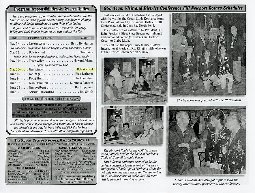Rotary of Newport, Oregon May 5, 2011 newsletter