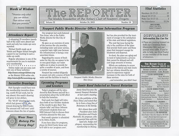 October 24, 2013 Rotary of Newport, Oregon Newsletter