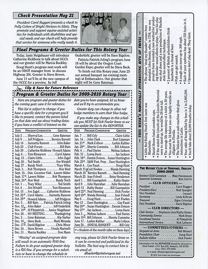 Rotary of Newport, Oregon May 28, 2009 newsletter