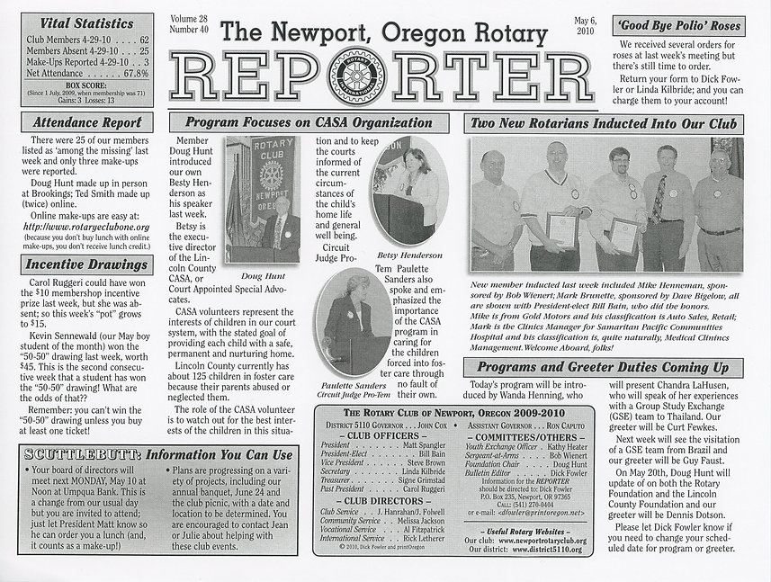 Rotary of Newport, Oregon May 6, 2010 newsletter