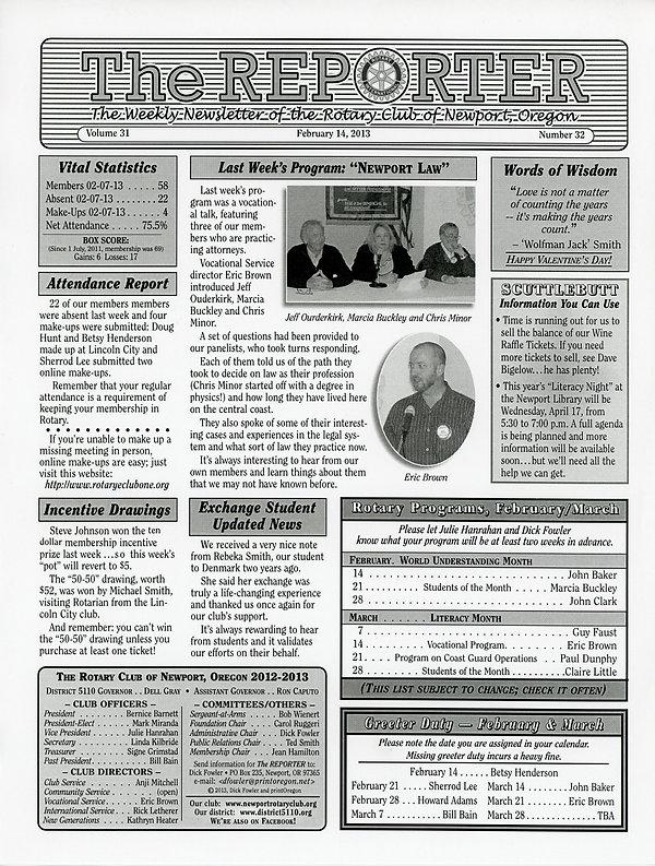 February 14, 2013 Rotary of Newport, Oregon Newsletter