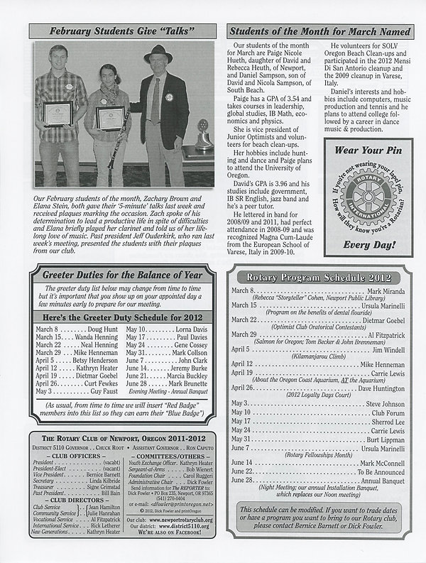 March 8, 2012 Rotary of Newport, Oregon Newsletter