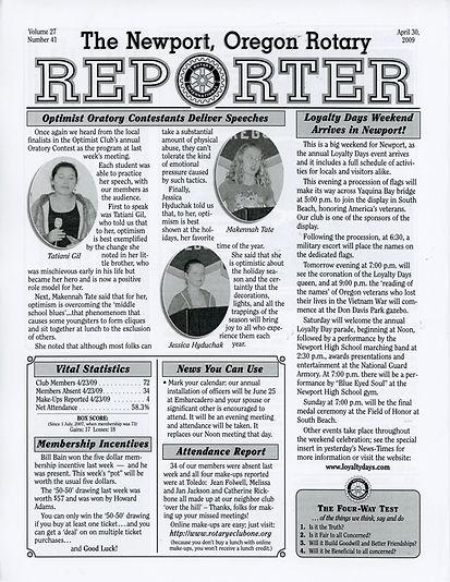 Rotary of Newport, Oregon April 30, 2009 newsletter
