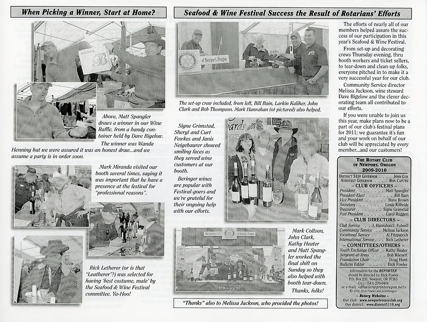 Rotary of Newport, Oregon March 4, 2010 newsletter.