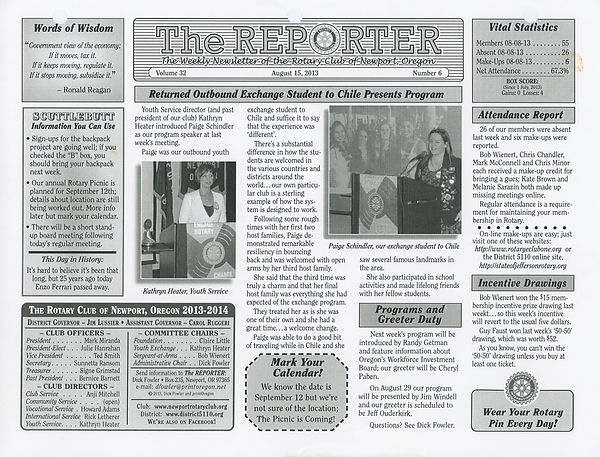 August 15, 2013 Rotary of Newport, Oregon Newsletter
