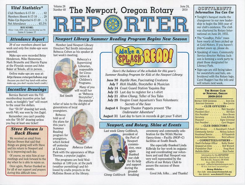 Rotary of Newport, Oregon June 24, 2010 newsletter