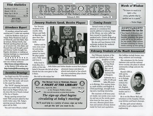 February 6, 2014 Rotary of Newport Newsletter
