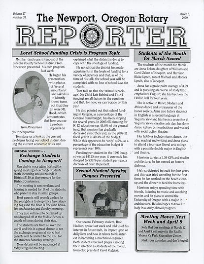 Rotary of Newport, Oregon March 5, 2009 newsletter
