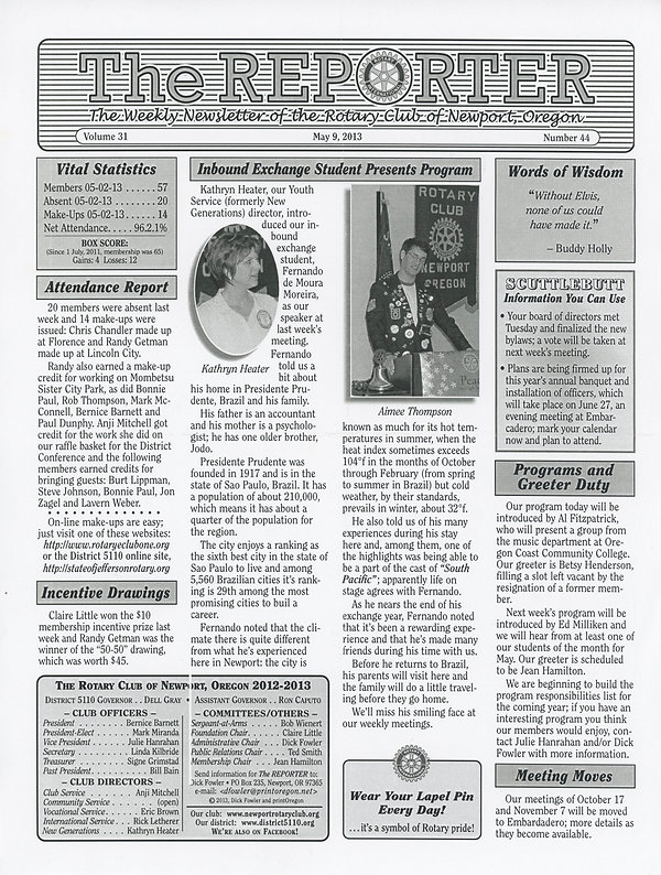 May 9, 2013 Rotary of Newport Newsletter