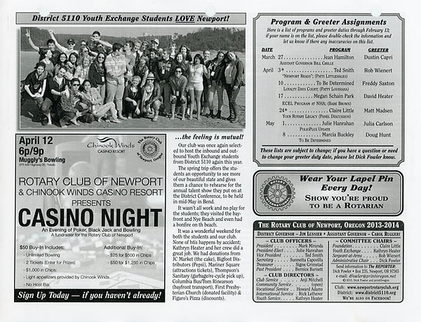 March 27, 2014 Rotary of Newport Newsletter
