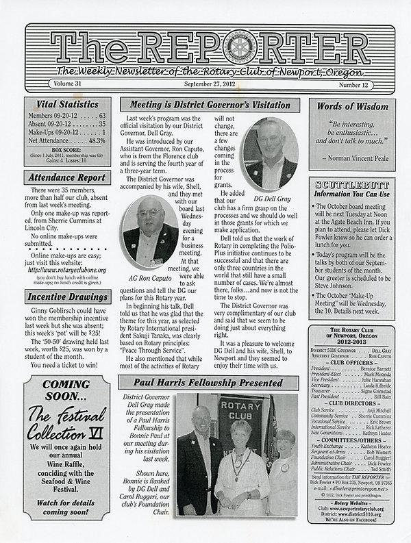 September 27, 2012 Rotary of Newport, Oregon Newsletter.