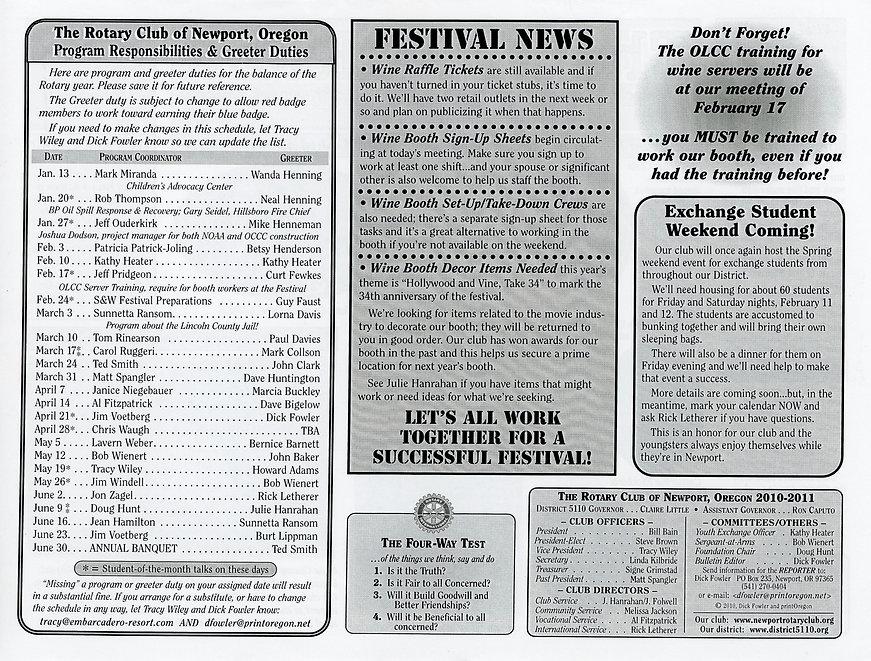 Rotary of Newport, Oregon Newsletter- January 13, 2011