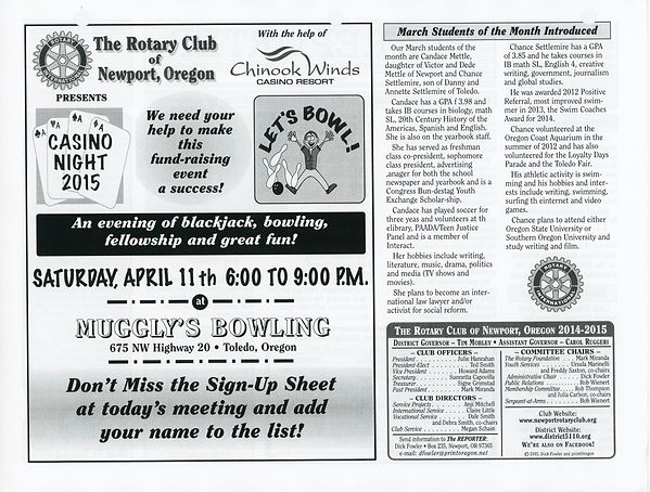 March 12, 2015 Rotary of Newport Newsletter