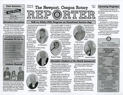 Rotary of Newport, Oregon December 3, 2009 newsletter