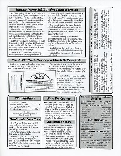 Rotary of Newport, Oregon 1.29.09 newsletter