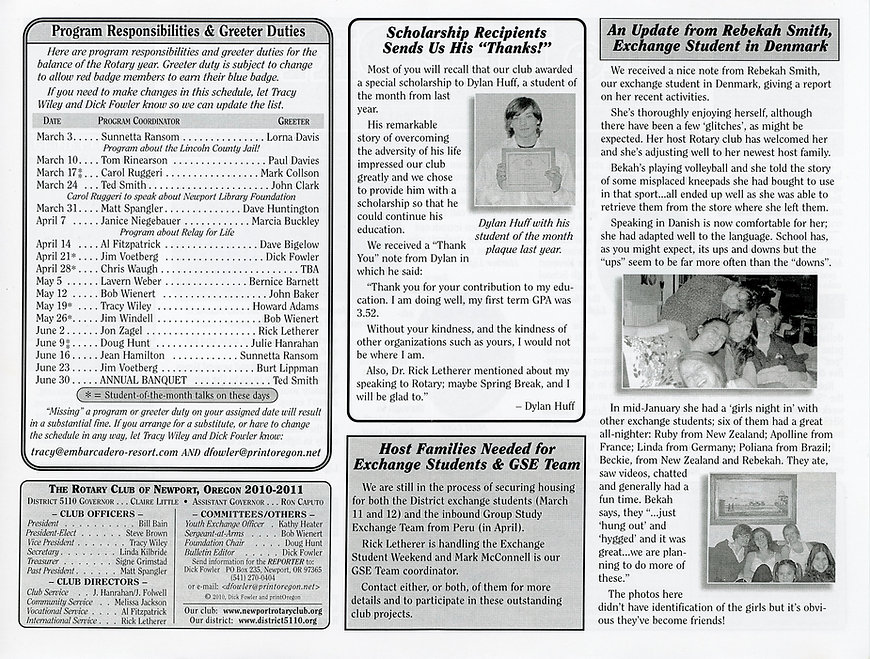 Rotary of Newport, Oregon Newsletter- February 17, 2011