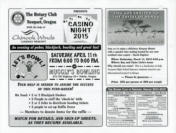 February 26, 2015 Rotary of Newport Newsletter
