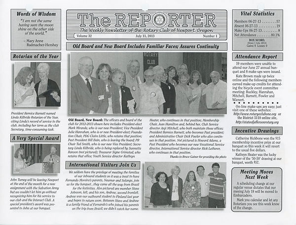 July 11, 2013 Rotary of Newport Newsletter