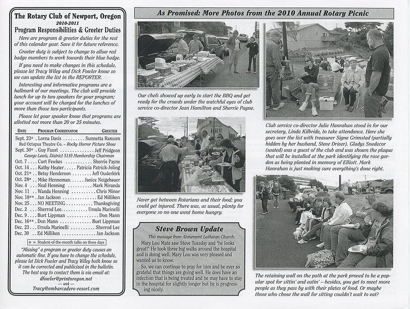 Rotary of Newport, Oregon September 16, 2010 newsletter