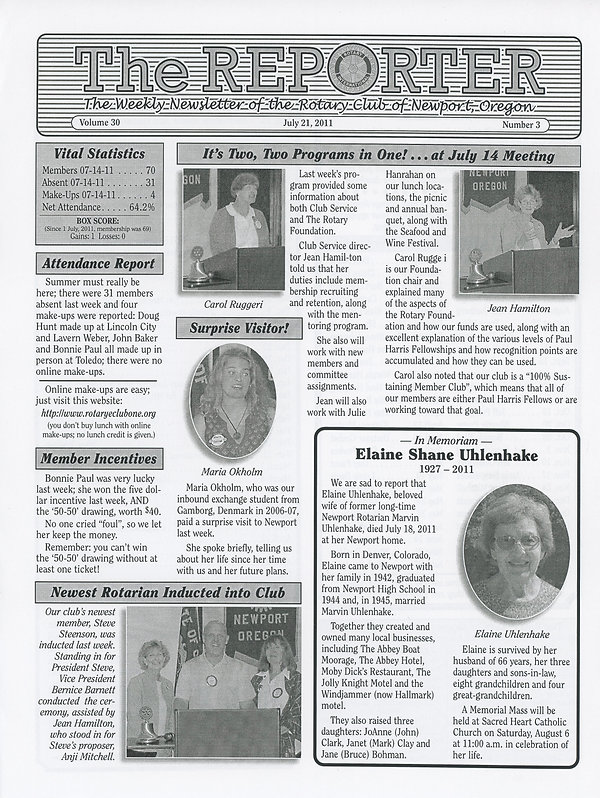 Rotary of Newport, Oregon July 21, 2011 newsletter